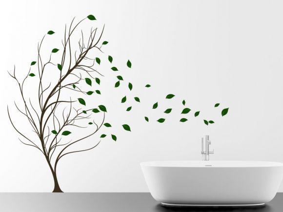 Blätter Baum im Wind Brooklyn bridge - wandtattoos für badezimmer