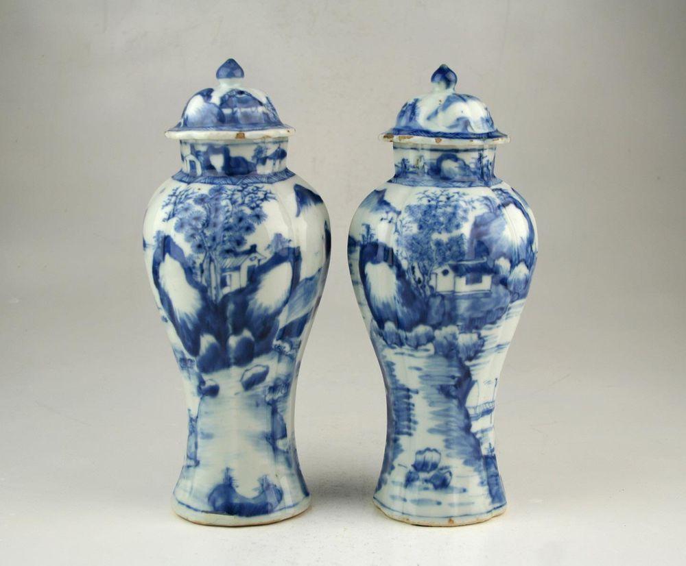 Pair antique chinese qing kangxi blue white transitional style pair antique chinese qing kangxi blue white transitional style porcelain vases reviewsmspy