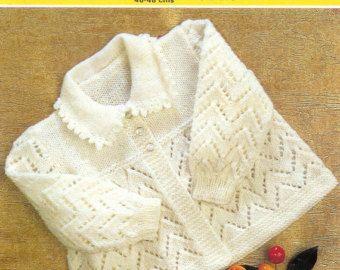 ON SALE - Vintage PDF Baby  Knitting Pattern  - Collared Jacket 18-19 ins