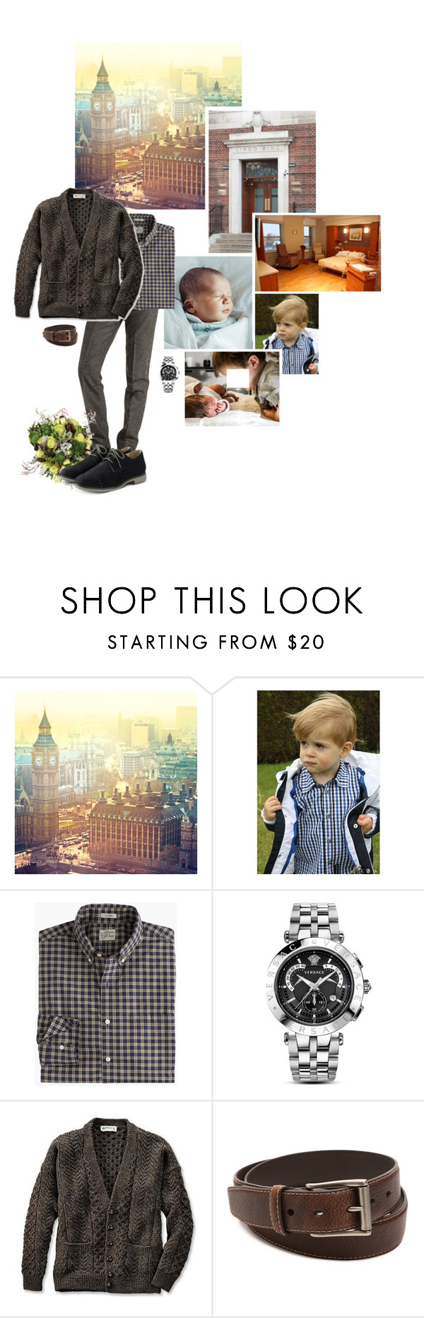 """Untitled #2160"" by duchessq ❤ liked on Polyvore featuring Timberland, Versace, Columbia, Cole Haan, men's fashion and menswear"