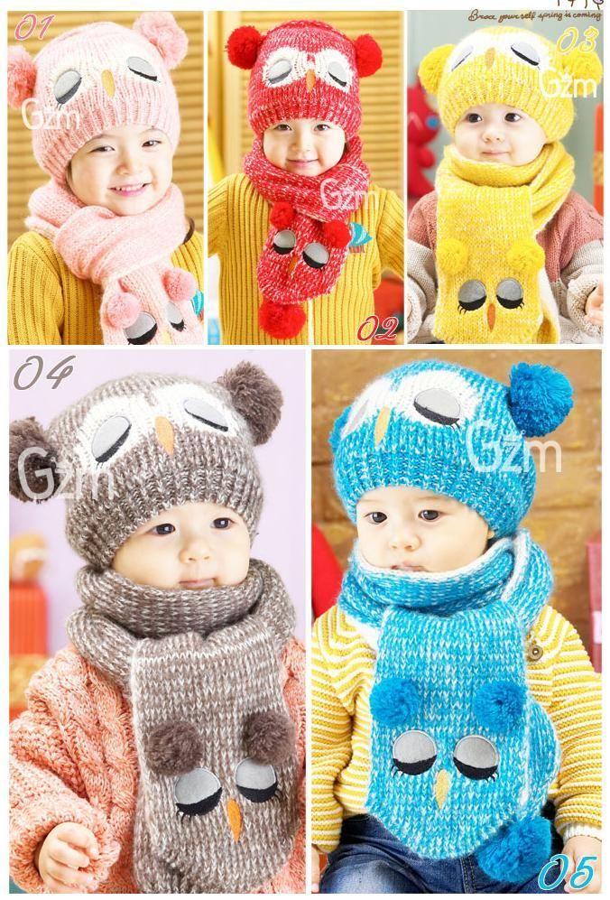 Winter Baby Toddler Boy Girl Kids Warm Hat Cap + Scarf 1--5 Years 3585