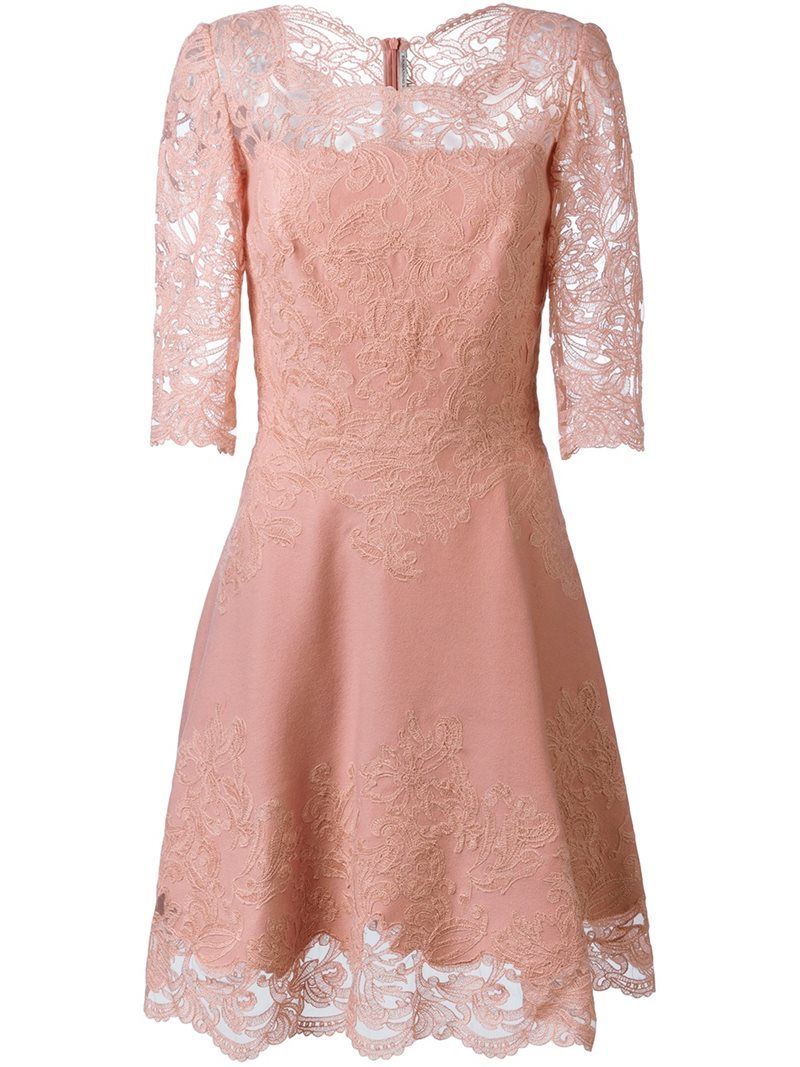 Ermanno scervino scalloped hem short dress womenus size pink