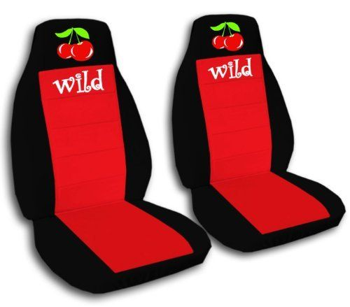 2 Black And Red Wild Cherry Car Seat Covers For A 2008 Chevy Cobalt