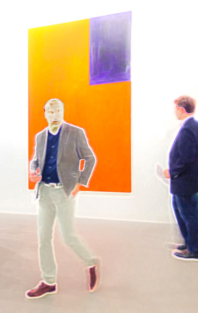 """Yellow-Blue Painting And Two Men"" © Jan Oberg 2015"