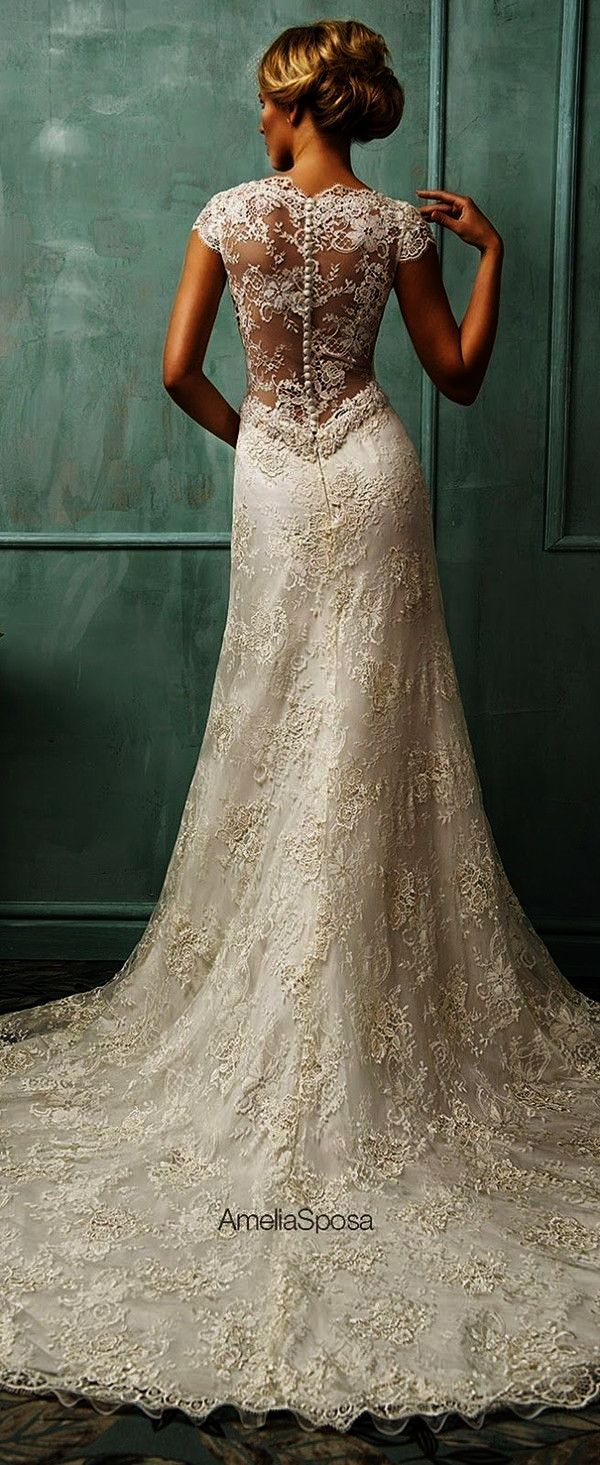 Breathtaking lace wedding dress with open back and cap sleeves d