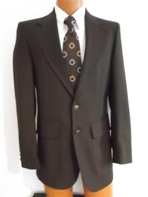 Vintage 70s Gioranni Mens Indie Brown Skinny-Fit 2-Button Sportcoat~Blazer 36R