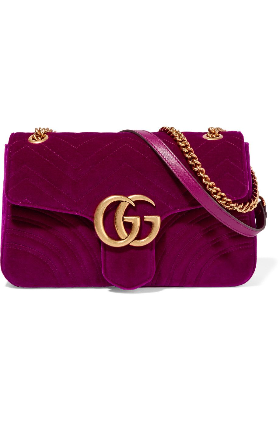 Leather quilted handbags and purses - Gucci Gg Marmont Medium Quilted Velvet Shoulder Bag Plum Velvet And Leather Push Lock Fastening
