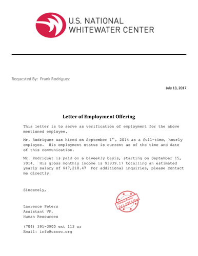 Employment Job Letter Income Annual Gross Salary Wage
