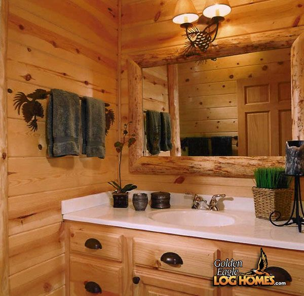 Log home bathrooms golden eagle log homes log home for Log cabin bathroom pictures