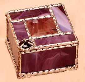 Stained Glass Jewelry Box w Center Bevel Decorative Stained Glass