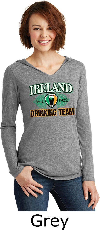 c2d1842bf Ladies St Patrick's Day Ireland Drinking Team EST 1922 Tri Blend Long Sleeve  Hoodie Shirt XIT-11353-