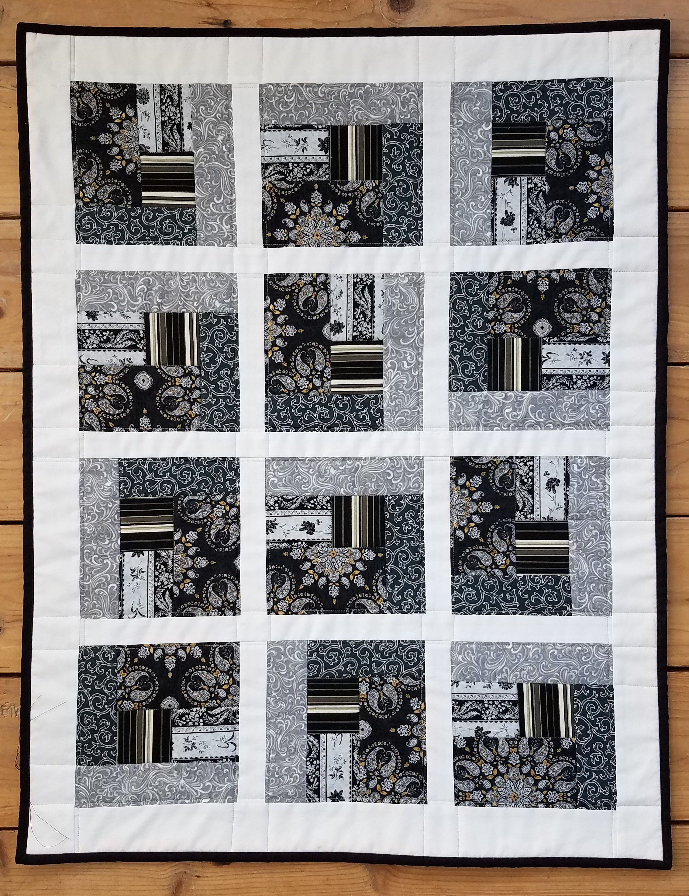 Black white and grey quilted wall hanging black white quilt black and