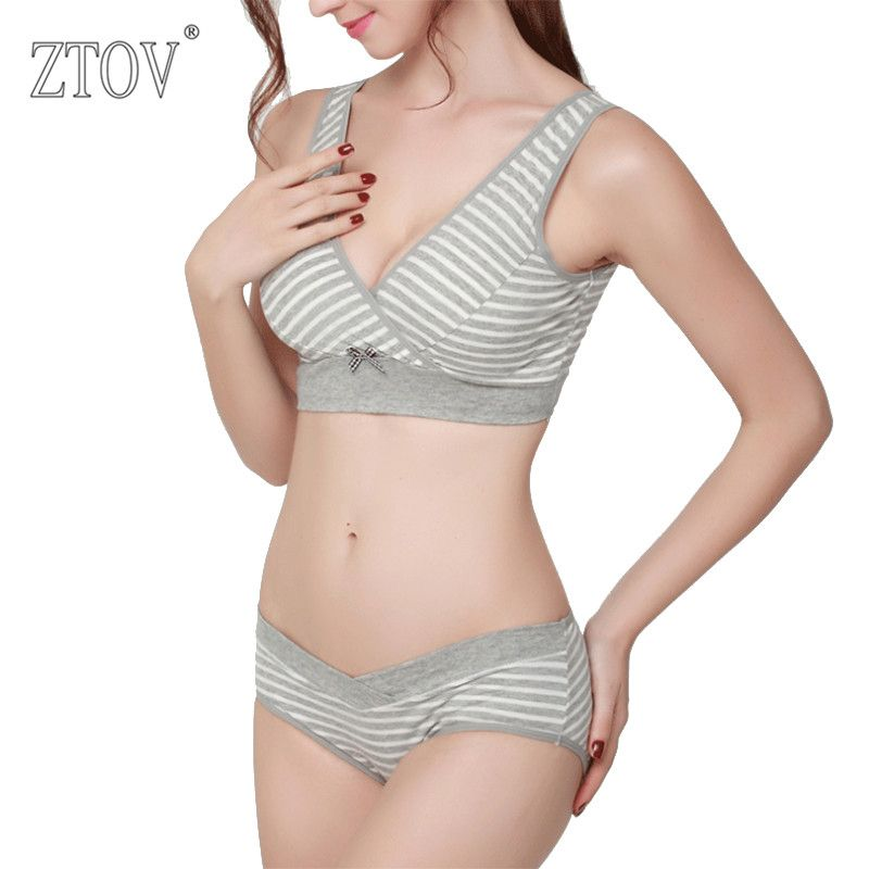 8c5ae19c6d7 ZTOV Cotton Maternity Nursing bra+panties Breastfeeding bra set for pregnant  women bow feeding Bra