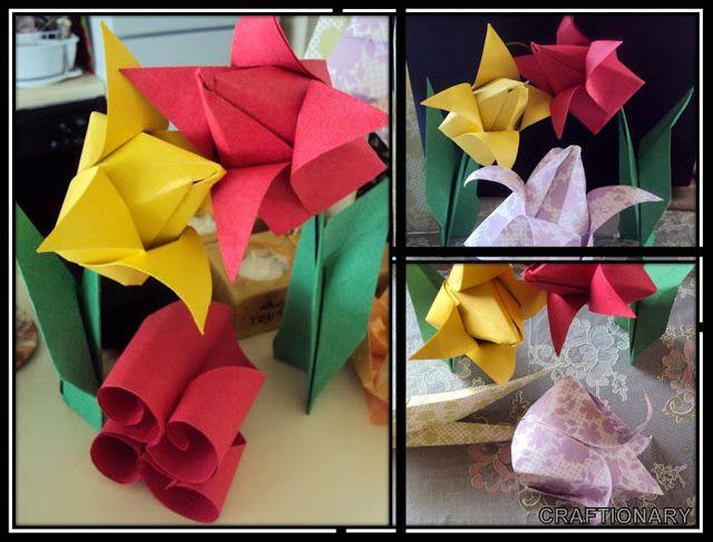 Origami tulips paper flowers tutorial origami tutorials and origami tulips paper flowers tutorial mightylinksfo