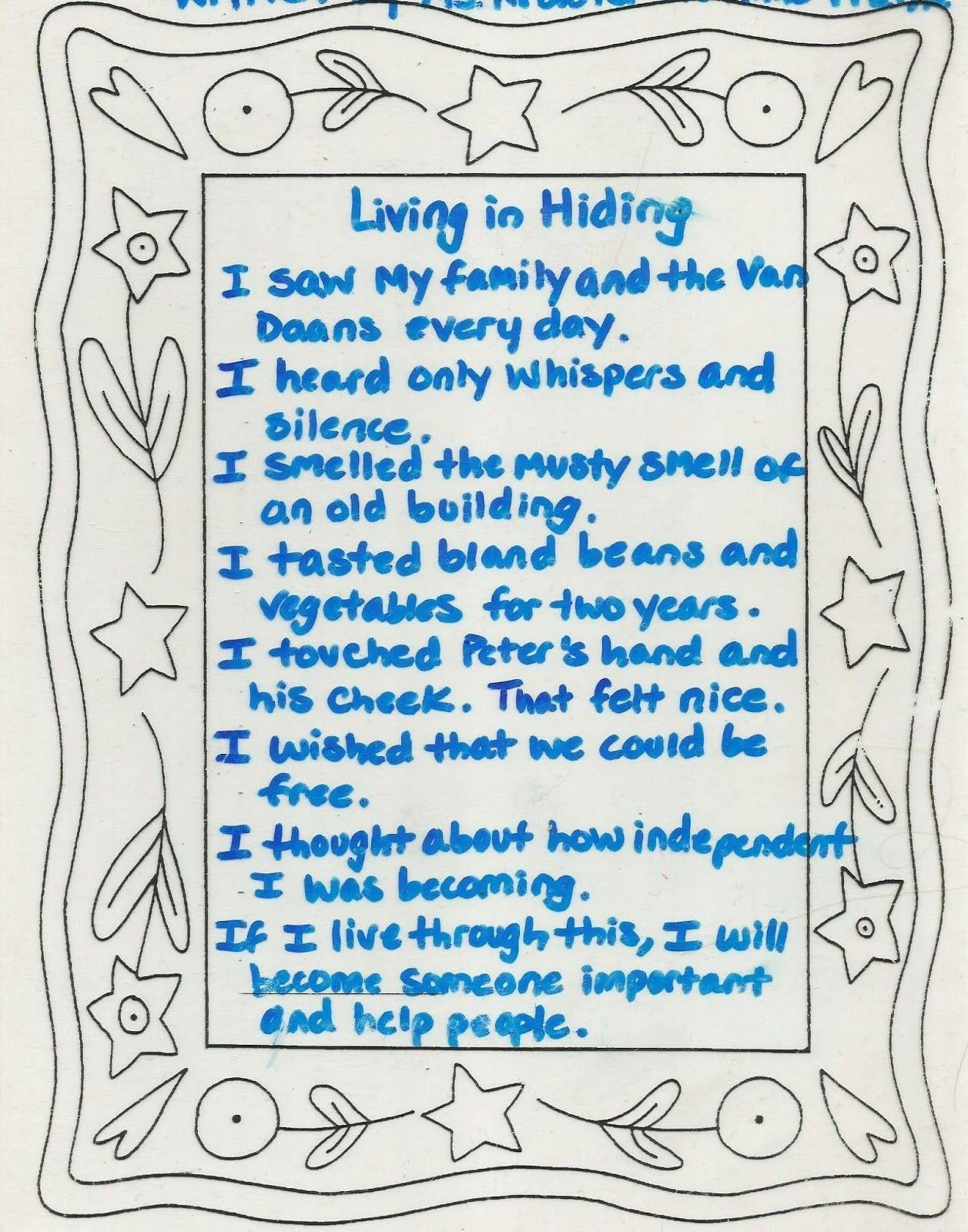 Anne Frank Five Senses Poem