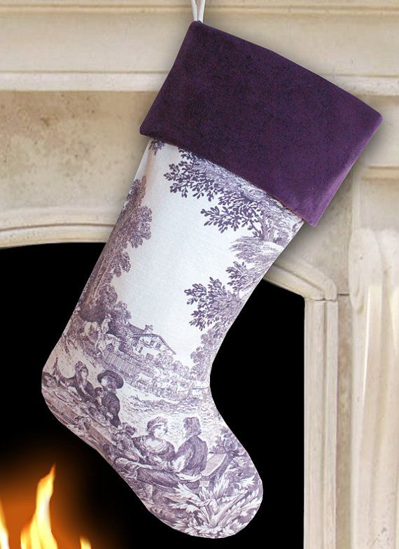 purple toile christmas stocking with purple by meredithrosepetal more - Purple Christmas Stocking