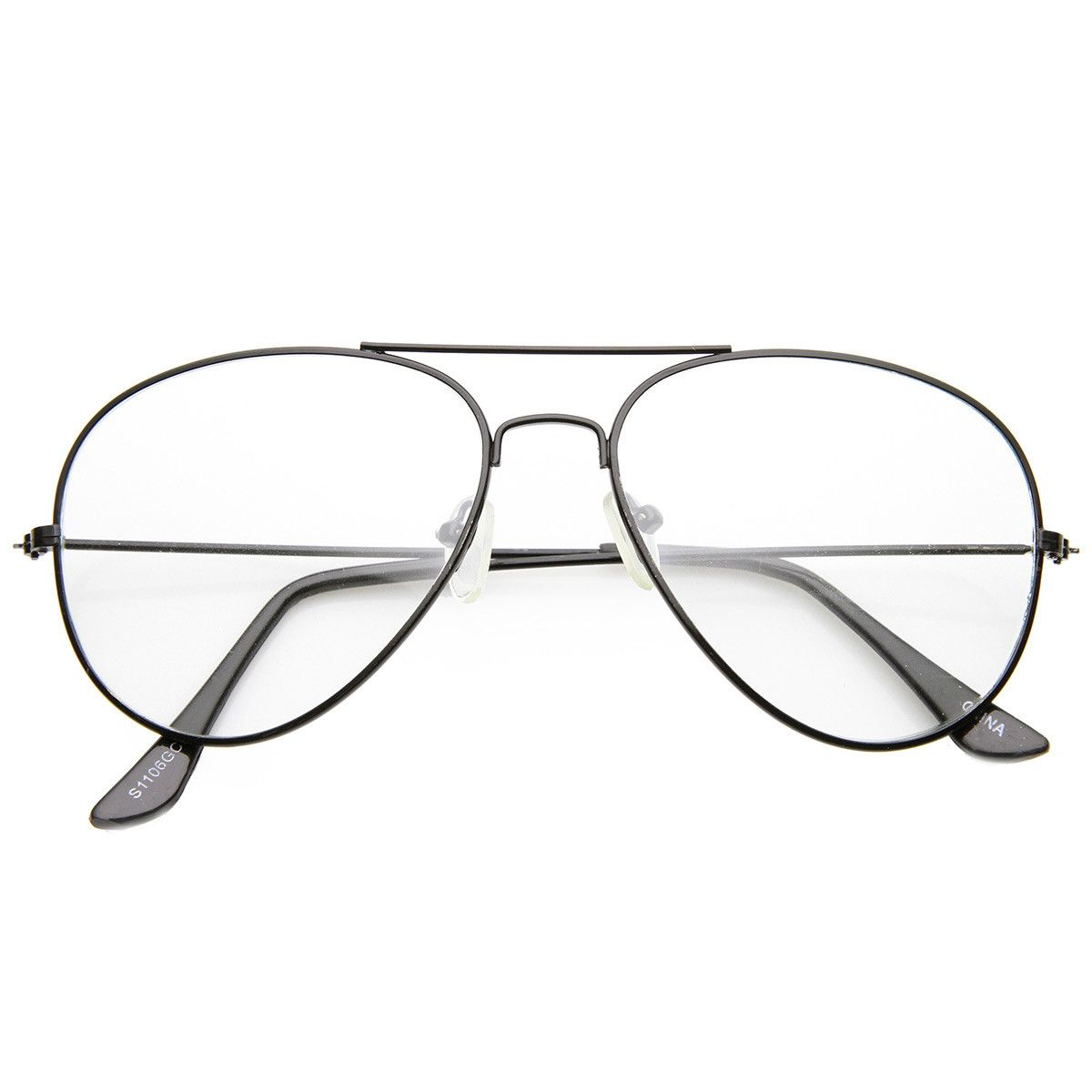 1732a827c1f Nickel Plated Tear Drop Wire Frame Basic Metal Clear Lens Aviator Glasses