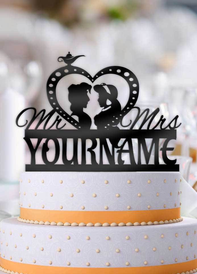 Aladdin and Jasmine Personalized Wedding Cake Topper