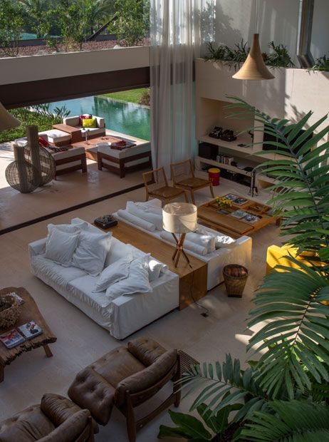 Mpg arquitetura residencial residência af living spacesliving roombeach housesinterior designpsopen concepteclectic stylebrazilresidential architecture