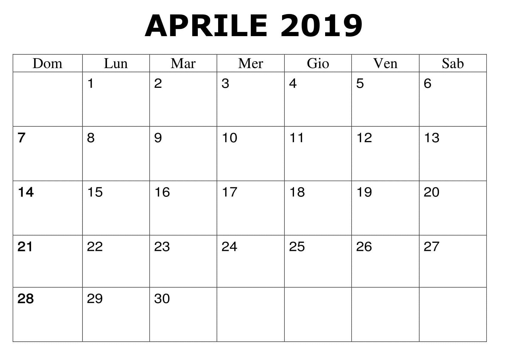 Calendario Mensile Da Stampare.Calendario Mensile Aprile 2019 Da Stampare Calendario