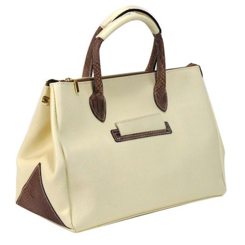 "Color options:  Ivory     Color Class: White     Style:Satchel/ Top handle     Construction: 100% Genuine Leather     Exterior: Ivory leather with snake embossed leather trims and handles     Entry:  Top  entry with turn lock closure     Handles: Two top handles D:5"" , additional snake print leather shoulder strap     Bag dimensions:  W 14""x H10""x D7""     Exterior pockets:  one     Two zippered interior pocket and accessory pocket     Bottom feet..."