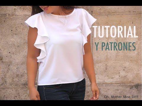 f5f195569 Como hacer blusa con volantes en 18 minutos (patrones) (Oh, Mother ...