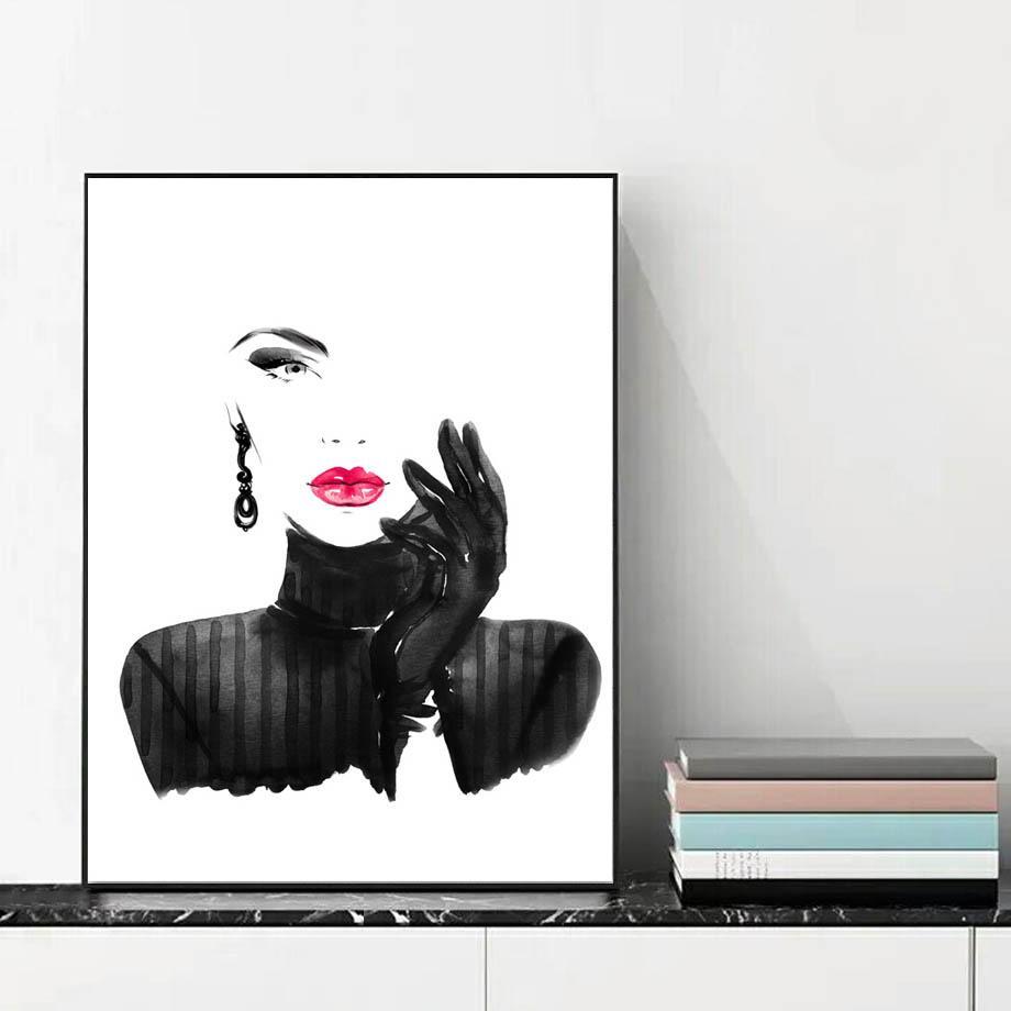 Be Yourself Modern Black White Red Lipstick Glamour Fashion Wall Art Fashion Wall Art Fine Arts Posters Fashion Wall Art Bedroom Decor