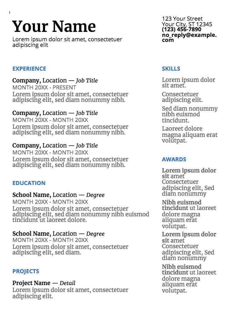 Simple Resume Template Google Docs Innovative Google Doc