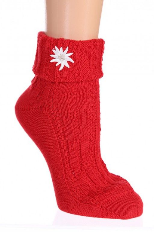 rot wie die Liebe...klassische #Socken mit Enzianmotiv...