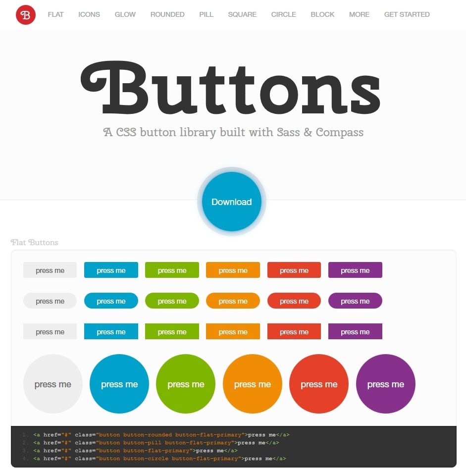 Buttons is a free CSS button library that's built with Sass and