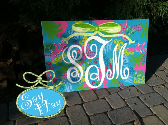 24x36 Lilly Pulitzer Print Inspired Monogrammed by SayHayGifts, $100.00