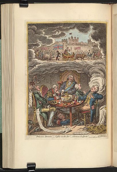 10.04.1808:Bodleian Libraries,Delicious dreams Castles in the air Glorious prospects.Satire on Portland's second ministry. (British political cartoon); Cabinet minsters are depicted dreaming of the defeat of Napoleon;in clouds rising from the head of Canning,Napoleon is seen captive in London,along with his ally Russia and the puppet kings of Europe.