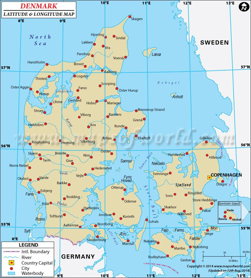 Denmark Latitude And Longitude Map Γεωγραφία Pinterest - World map with latitudes