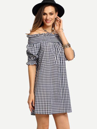 1920461438 Shop Blue White Plaid Off The Shoulder Shirt Dress online. SheIn offers  Blue White Plaid