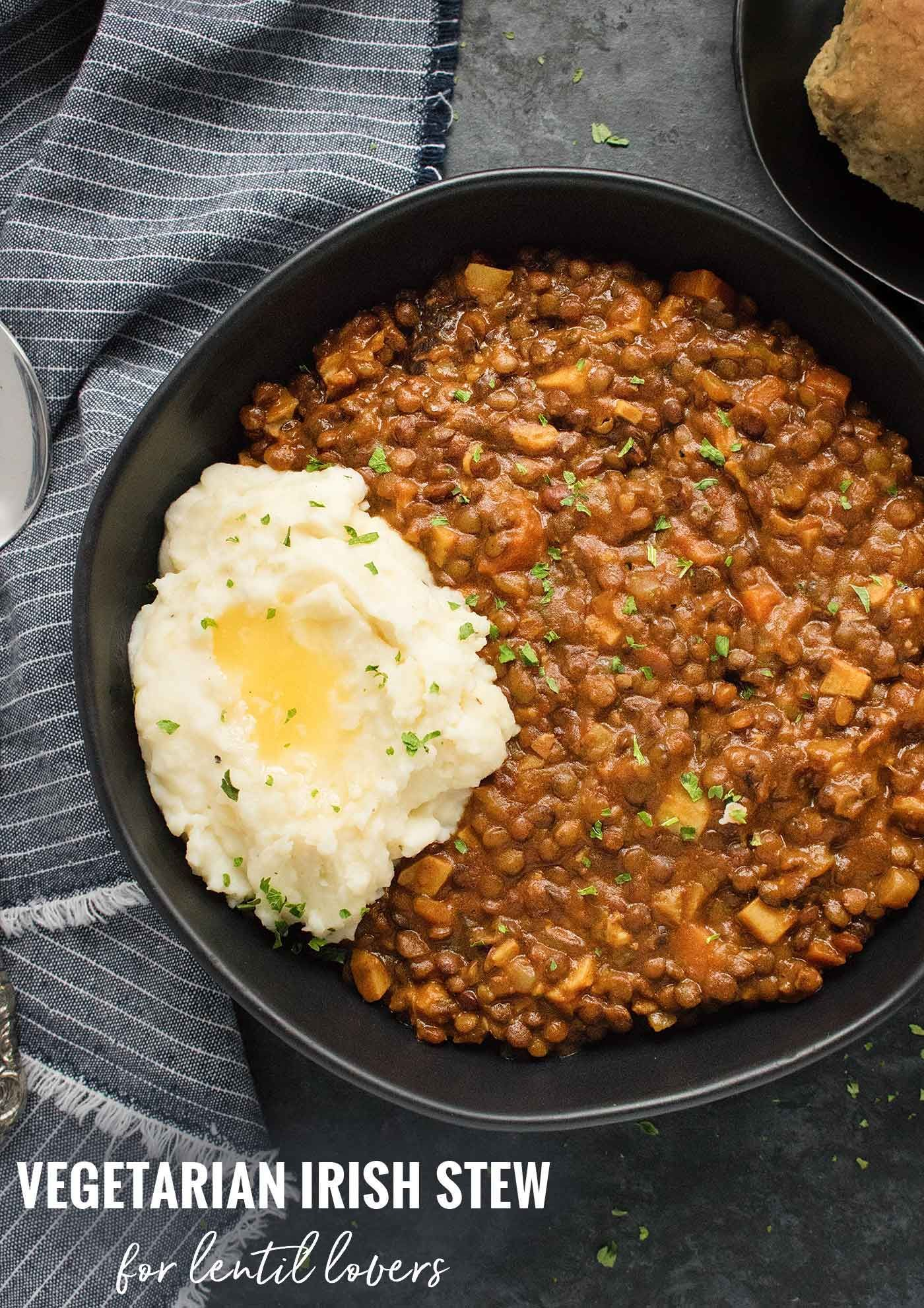 A vegetarian twist  but a delightfully delicious twist  on Irish stew uses hearty lentils and authentic Guinness Stout also its vegan Recipe at We told him about the mist...