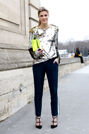 Très Chic! The Best Street Style at Paris Fashion Week: A high shine top gave sporty bottoms a glam twist