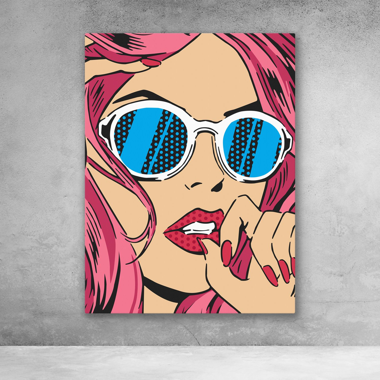 Girl With Sunglasses Pop Art Canvas Wall Art Pop Art Canvas Pop Art Drawing Pop Art Painting