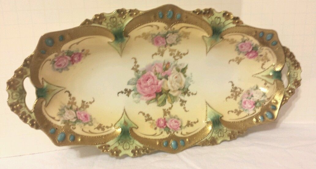RS Prussia Celery Dish with Beautiful Hand Painted Floral Design.