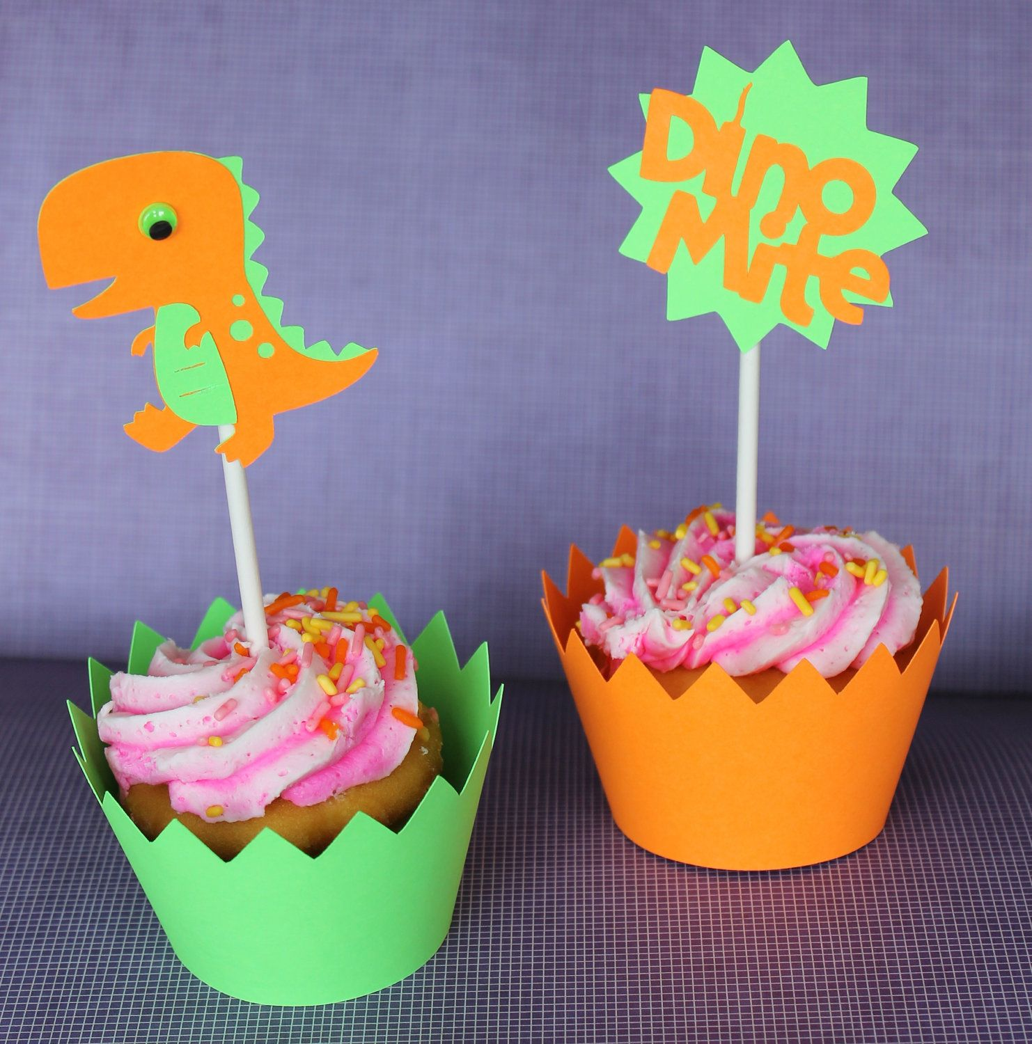 Dinosaur Theme Birthday Party Cupcake Toppers cute like the idea of