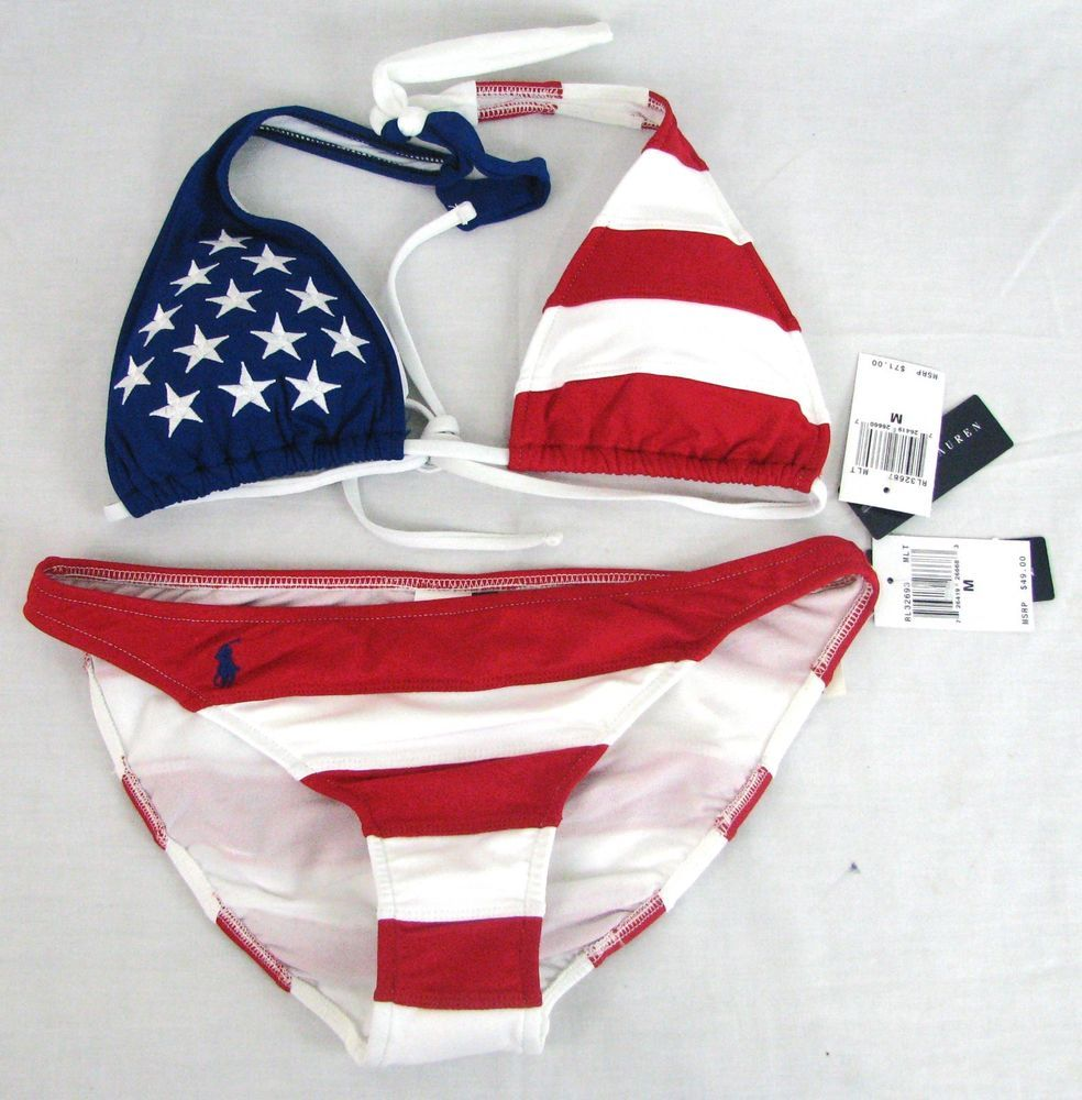 87e7b722 Ralph Lauren American Flag Bikini Swim Suit Set Red White Blue Size ...