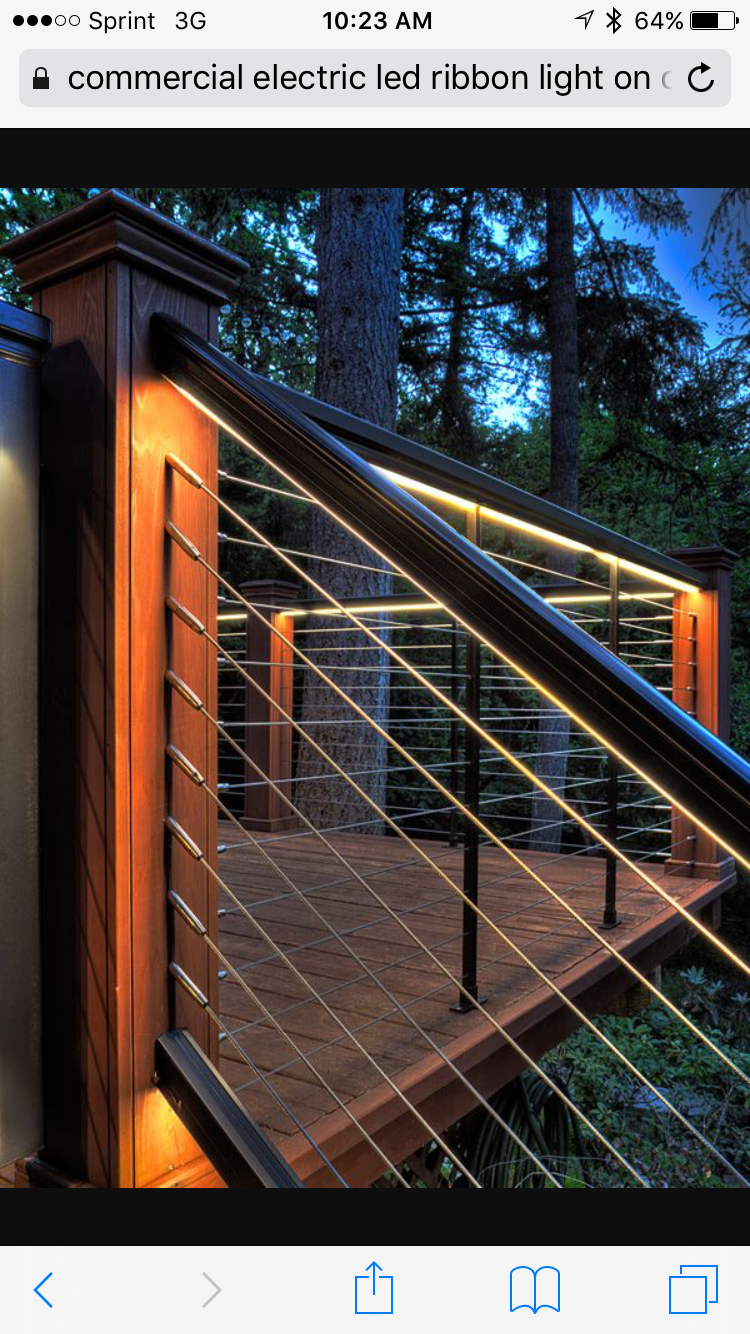 Pin By Brent Stansberry On Decks And Railing Railings Outdoor Deck Lighting Outdoor Stairs