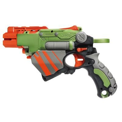 NERF VORTEX PROTON Blaster - single shot different single shots - 4 about  this size in red, yellow, green, clear and 2 smaller blue ones)