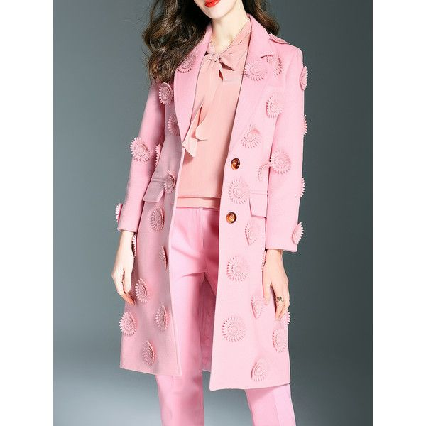 Pink Lapel Flowers Applique Pockets Coat ❤ liked on Polyvore ...