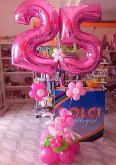 25th Birthday 75th 40th Parties Celebration Number Balloons Pink