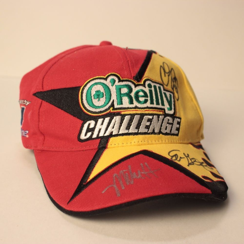 0039e69dd8d Oreilly Challenge Hat Cap Strapback Red Yellow Adjustable Autographed   Oreilly  Strapback