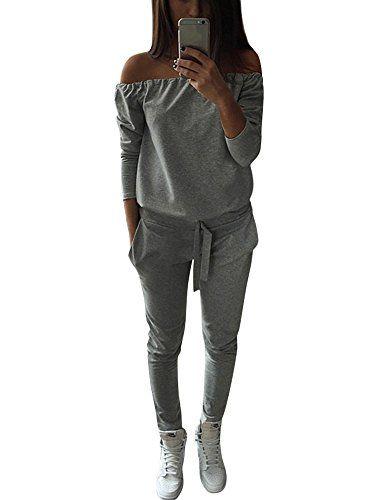 Tomwell Femmes Jogging Yoga Survêtement Sports Suits Casual Manches Longues  Crop Top Sweat-Shirt à Capuche Et Pantalon Ensemble De Sportwear 2pcs Gris  FR 42 6c69ebaf604