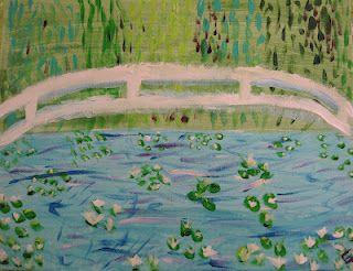 Another monet inspired lesson idea via http://angelaandersonart.blogspot.com/2012/03/monet-waterlilies-bridge-kids-art-class.html