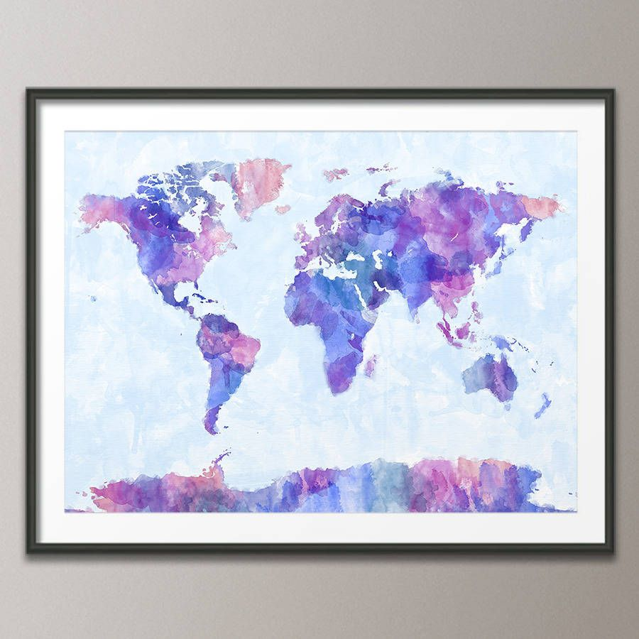 World map watercolour print print poster watercolor print and art print poster frame not included purpleblue version gumiabroncs Image collections