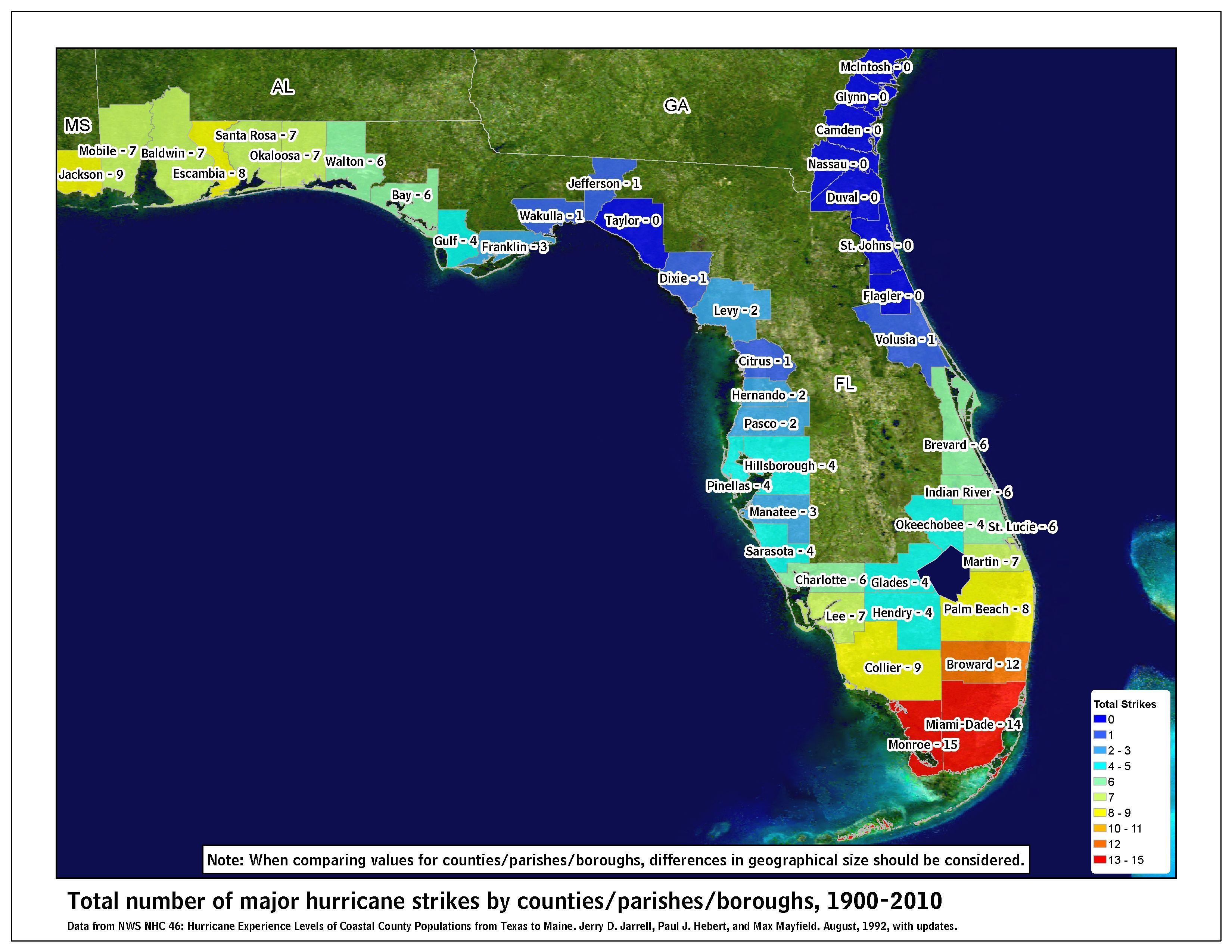 Tropical Cyclone Climatology Florida Hurricane Map Of Florida Naples Florida
