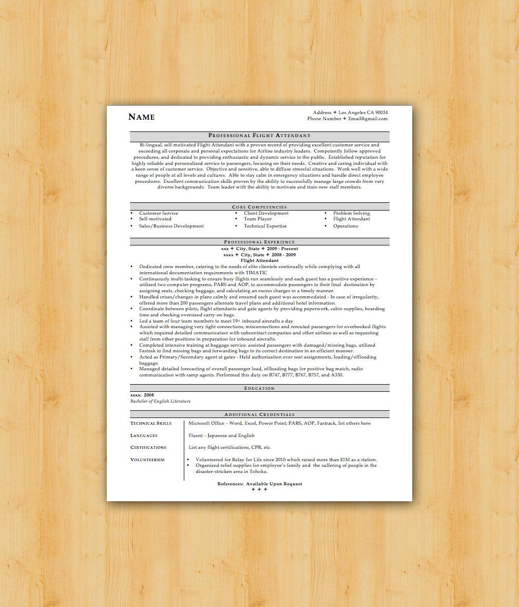 Easy to Edit Flight Attendant Design Resume by TheResumeCollege ...